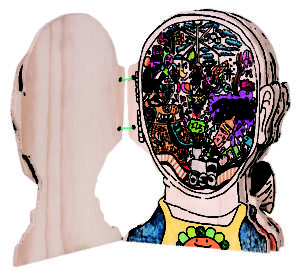 Artwork showing what thoughts are inside a head